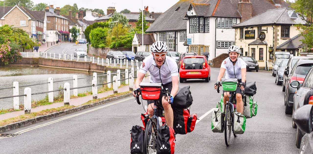 James and Emily cycling London to Brighton