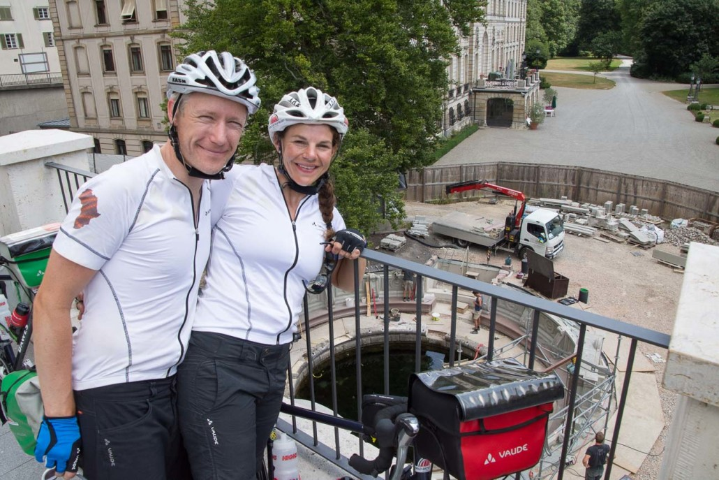 James and Emily at the Donauquelle: the source of the Danube
