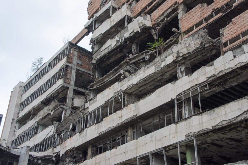 Ministry of defense building in Belgrade damaged during the 1999 NATO bombing.