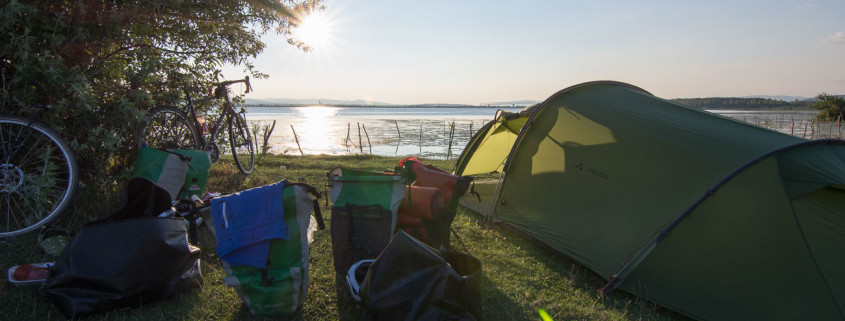 Wild camping by the Danube in Romania