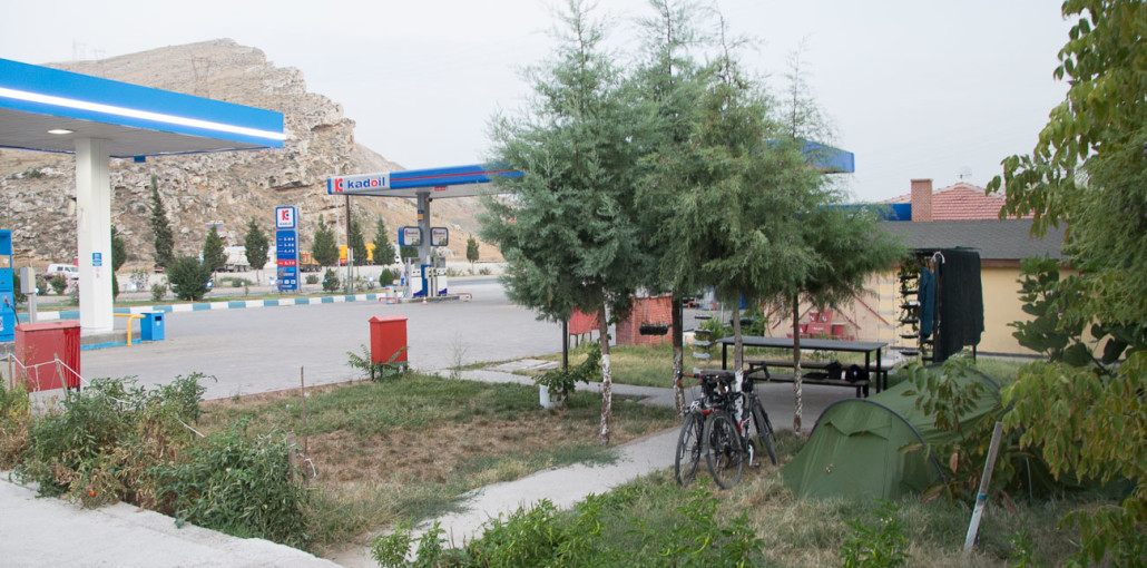 After a long day in the saddle, we pitched up at this fuel station in Davutoğlan, Turkey. The extremely friendly staff offered us watermelon, showers and for us to pitch our tent on a small patch of grass adjacent to the petrol station.