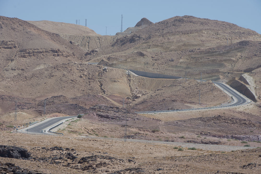 Jordan's Dead Sea to Madaba road. It's steep. Very steep!