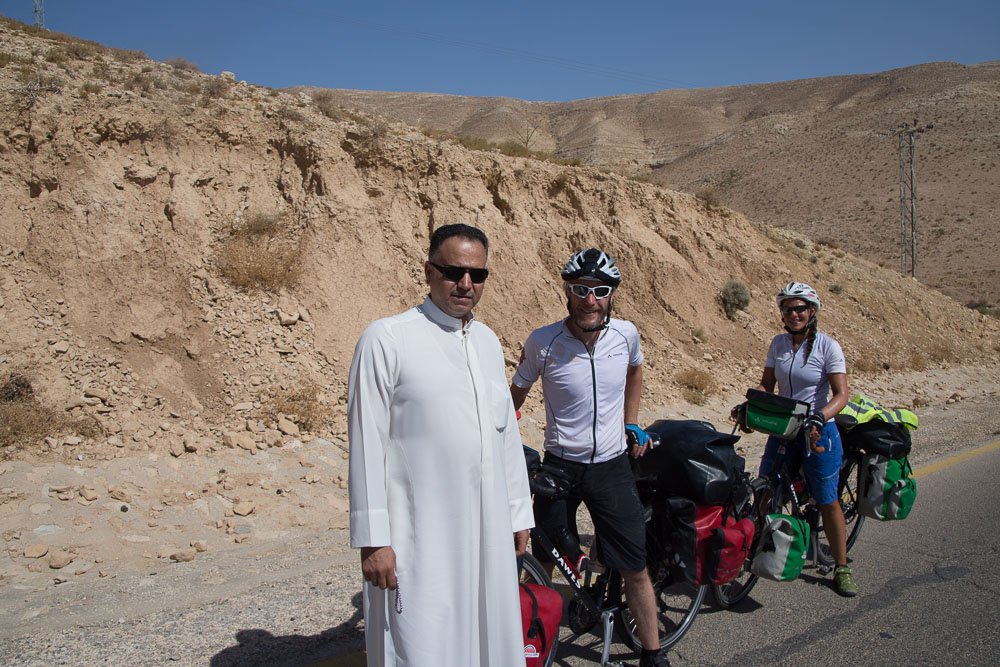 Our new friend after he stopped to offer us water and Arabian coffee as we climb from the Dead sea to Madaba.