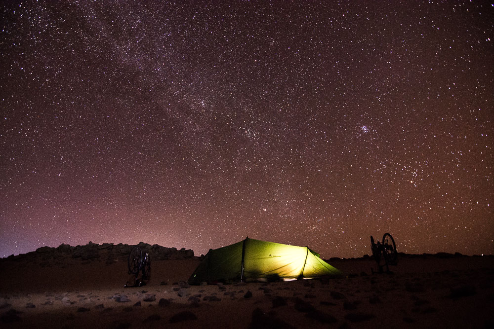 Capturing the milky way as we camp in our Vaude tent in the sand dunes
