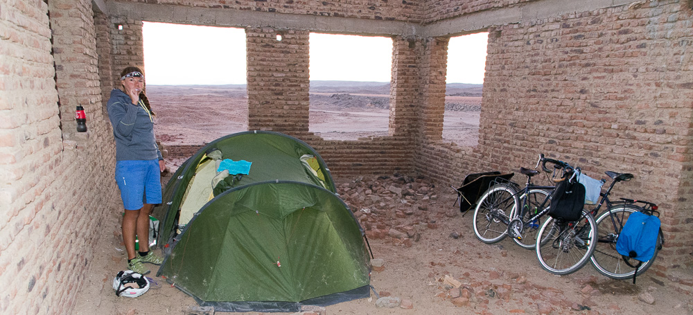 Camping in a disused building in the Nubian desert