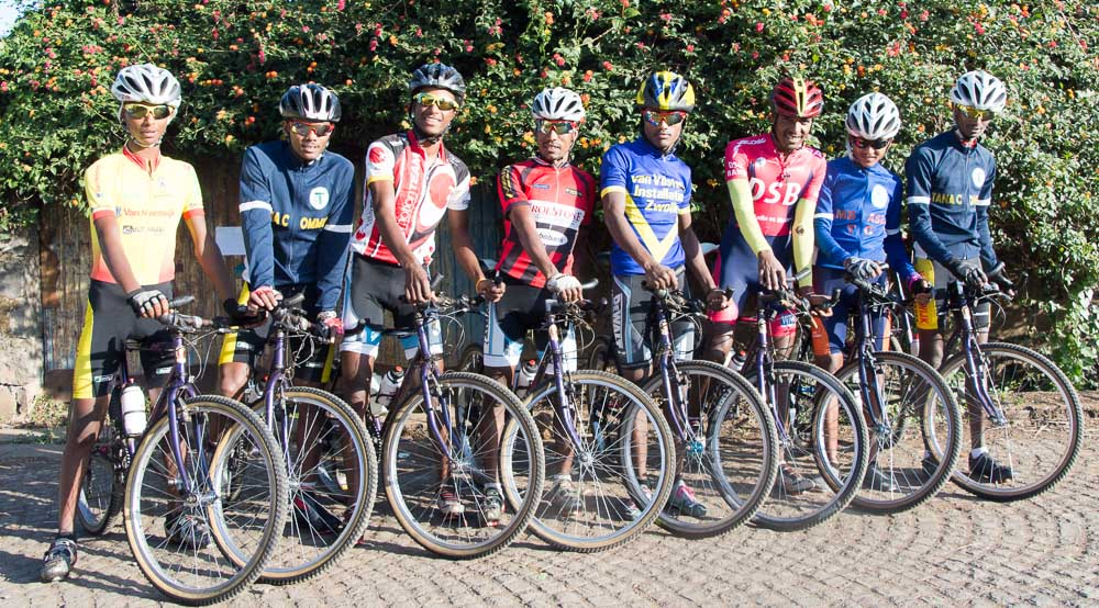 Some of the Amhara Regional Cycling Team prepare for a training ride