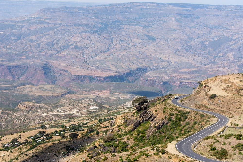 The long, winding and steep road up the Blue Nile Gorge, Ethiopia