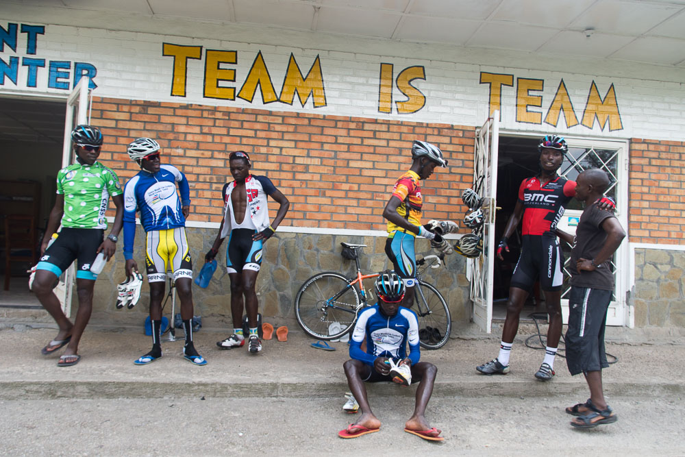 Team Rwanda return from a hard training ride