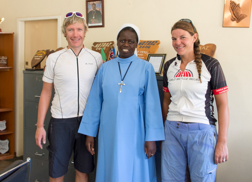 Meeting the head teacher at Lwitikila Girls School, Sr Clementina