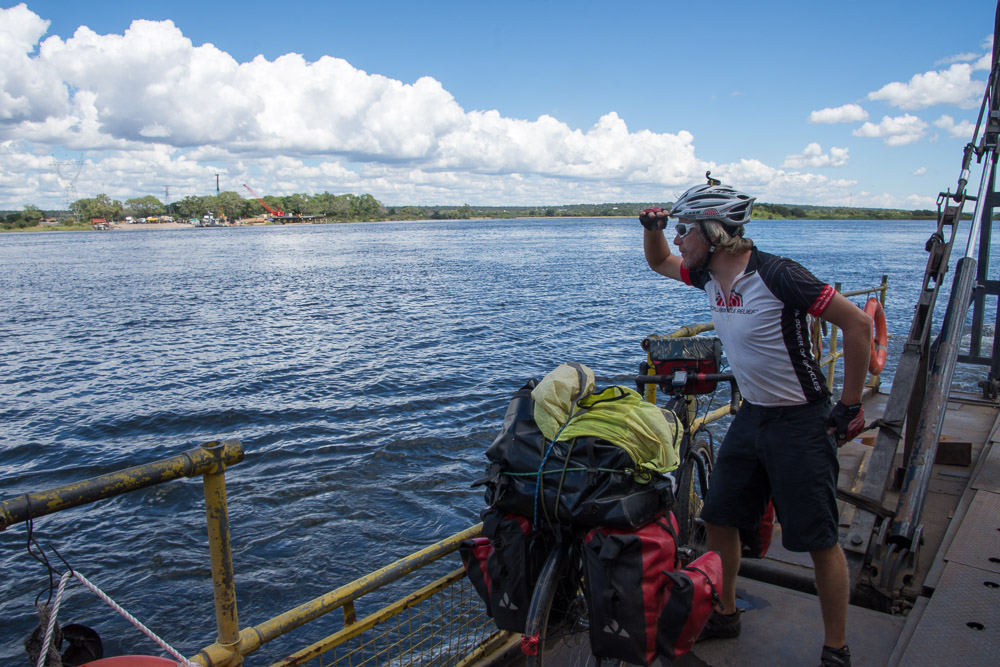 James checks out the view from the Zambia/Botswana ferry across the Chobe River