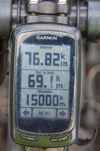 Reaching 15,000km on our 145km ride into Livingstone.