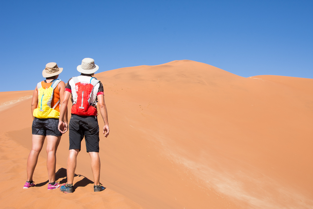 Admiring the view from one of the biggest dunes at Sossusvlei