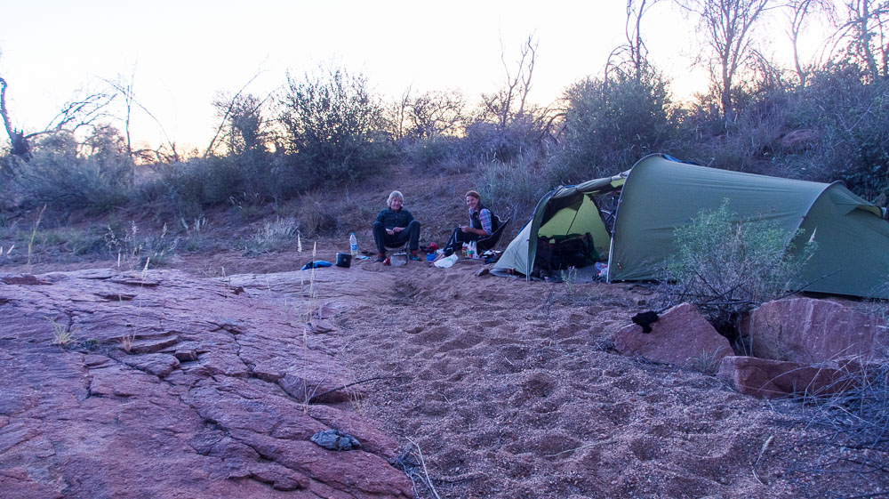 Camping in a dried-up riverbed at Okazizi