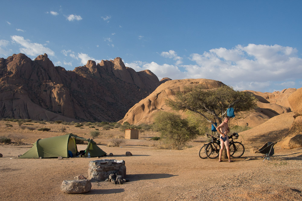 Enjoying a shower and the solitude of the campsites at Spitzkoppe